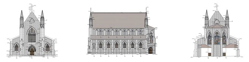 Holy Trinity, drawing of the building